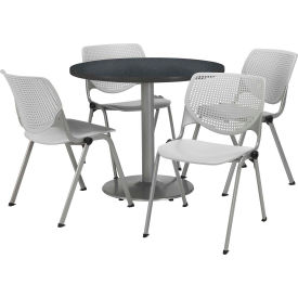 "KFI Dining Table & Chair Set - Round - 36""W x 29""H - Light Gray Plastic Chairs with Graphite Table"