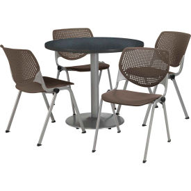 "KFI Dining Table & Chair Set - Round - 36""W x 29""H - Brown Plastic Chair with Graphite Table"
