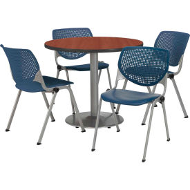 """KFI Dining Table & Chair Set - Round - 36""""W x 29""""H - Navy Plastic Chairs with Mahogany Table"""