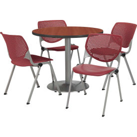"KFI Dining Table & Chair Set - Round - 36""W x 29""H - Burgundy Plastic Chair with Mahogany Table"