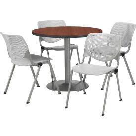 "KFI Dining Table & Chair Set - Round - 36""W x 29""H - Light Gray Plastic Chairs with Mahogany Table"