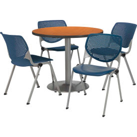 "KFI Dining Table & Chair Set - Round - 36""W x 29""H - Navy Plastic Chairs with Medium Oak Table"