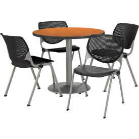 """KFI Dining Table & Chair Set - Round - 36""""W x 29""""H - Black Plastic Chair with Medium Oak Table"""
