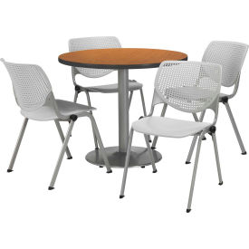 """KFI Dining Table & Chair Set - Round - 36""""W x 29""""H - Light Gray Plastic Chairs with Medium OakTable"""