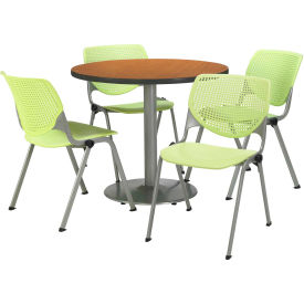 "KFI Dining Table & Chair Set - Round - 36""W x 29""H - Lime Plastic Chairs with Medium Oak Table"