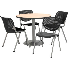 """KFI Dining Table & Chair Set - Round - 36""""W x 29""""H - Black Plastic Chair with Natural Table"""