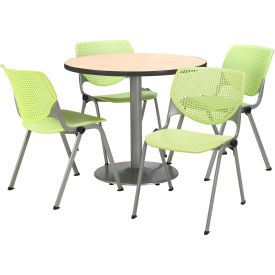 "KFI Dining Table & Chair Set - Round - 36""W x 29""H - Lime Plastic Chairs with Natural Table"