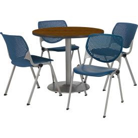 """KFI Dining Table & Chair Set - Round - 36""""W x 29""""H - Navy Plastic Chairs with Walnut Table"""
