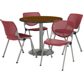 """KFI Dining Table & Chair Set - Round - 36""""W x 29""""H - Burgundy Plastic Chair with Walnut Table"""