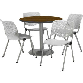 "KFI Dining Table & Chair Set - Round - 36""W x 29""H - Light Gray Plastic Chairs with Walnutl Table"