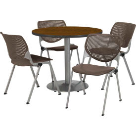 "KFI Dining Table & Chair Set - Round - 36""W x 29""H - Brown Plastic Chair with Walnut Table"