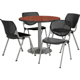 "KFI Dining Table & Chair Set - Round - 42""W x 29""H - Black Plastic Chair with Mahogany Table"