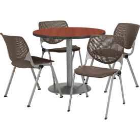 """KFI Dining Table & Chair Set - Round - 42""""W x 29""""H - Brown Plastic Chair with Mahogany Table"""