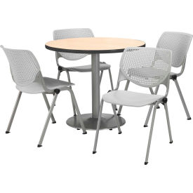 """KFI Dining Table & Chair Set - Round - 42""""W x 29""""H - Light Gray Plastic Chairs with NaturalTable"""