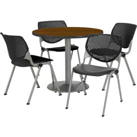 """KFI Dining Table & Chair Set - Round - 42""""W x 29""""H - Black Plastic Chair with Walnut Table"""