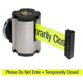 "Lavi Industries Satin Magnetic Wall Mount Unit, 13'L Yellow, ""Please Do Not Enter"" Belt"