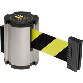 Lavi Industries Retractable Belt Barrier, Satin Wall Mount, 13'L Safety Black/Yellow Belt- Pkg Qty 1