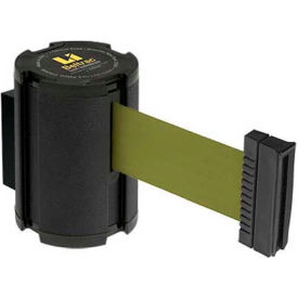Lavi Industries Retractable Belt Barrier, Wrinkle Black Wall Mount, 13'L Olive Green Belt