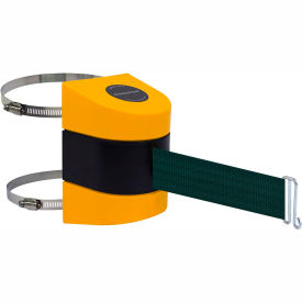 Tensabarrier Yellow Clamp Wall Mount 15'L Green Retractable Belt Barrier