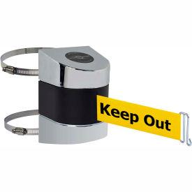 Tensabarrier Pol Chrome Clamp Wall Mount 30'L BLK/YLW Danger-Keep Out Retractable Belt Barrier