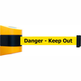 Tensabarrier Yellow Wall Mount 30'L BLK/YLW Danger-Keep Out Retractable Belt Barrier