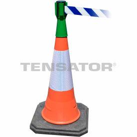 Tensabarrier Green TensaCone Topper 7.5'L Blue/White Chevron Retractable Belt Barrier