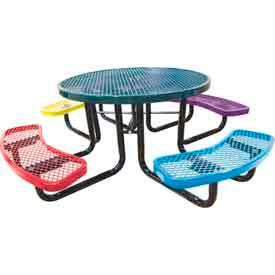 "46"" Round Child's Picnic Table, Expanded Metal, Portable Mount, Multi Colors"
