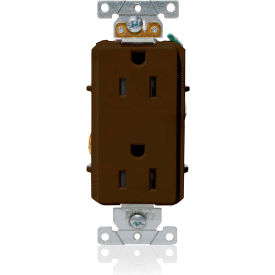 Leviton 16252 15A, 125V, Decora Plus Duplex Receptacle, Straight Blade, Commercial Grade, Brown