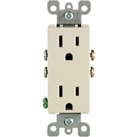 Leviton 5325-T 15A, 125V, Decora Duplex Receptacle, Ground Screw, Mounting, Light Almond