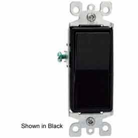 Leviton 5603-2E 15A, 120/277V, Decora Rocker 3-Way AC Quiet Switch, Black