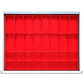 """ST Drawer Layout, 32 Plastic Boxes 2"""" H"""