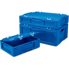 "Schaefer Attached-Lid Container LTBDH6120.BL1 w/2 Piece Lid - 24""L x 16""W x 5""H - Blue"
