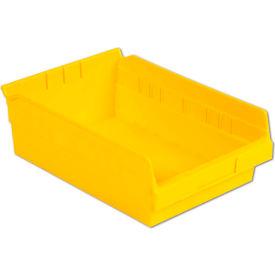 "LEWISBins Plastic Shelf Bin Nestable SB128-4 - 8-3/8""W x 11-5/8""D x 4""H, Yellow - Pkg Qty 12"