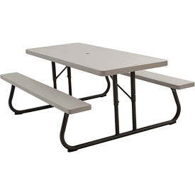 "Lifetime® Fold-Away Picnic Table - 72"" x 30"" Top - Putty"