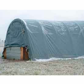 Gray 14'W x 30'L x 12'H Round Portable Shelter- Pkg Qty 1