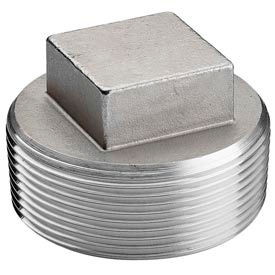 """Iso Ss 304 Cast Pipe Fitting Square Head Cored Plug 3"""" Npt Male - Pkg Qty 10"""
