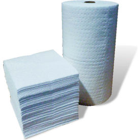 "Oil-Only Absorbent Pads, Heavy Duty,18"" x 15"", White, 100/Bale"