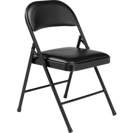 Steel Folding Chair with Padded Vinyl - Black - Pkg Qty 4