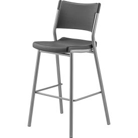 """National Public Seating Cafe Time Bistro Stool 30"""" Seat w/ Backrest 17""""W x 16""""D x 42""""H Charcoal"""