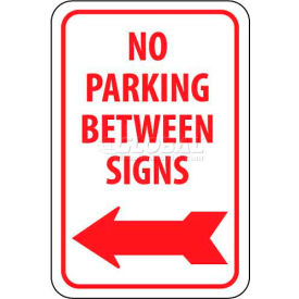 """NMC TM31G Traffic Sign, No Parking Between Signs W/Left Arrow, 18"""" X 12"""", White/Red"""