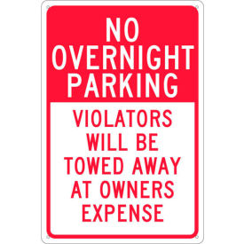"NMC TN57G Traffic Sign - No Overnight Parking , Aluminum, 18"" x 12"""