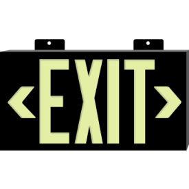 Glo-Brite Exit - Black Single Face w/ Bracket- Pkg Qty 1