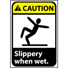 Caution Sign 10x7 Vinyl - Slippery When Wet