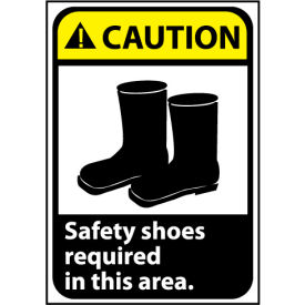 Caution Sign 10x7 Rigid Plastic - Safety Shoes Required