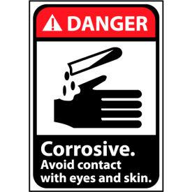 Danger Sign 14x10 Vinyl - Corrosive Avoid Contact