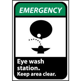 Emergency Sign 14x10 Rigid Plastic - Eye Wash Station Keep Area Clear