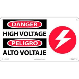 Bilingual Plastic Sign - Danger High Voltage
