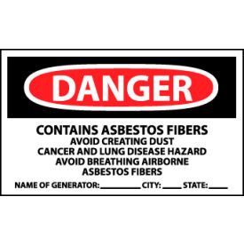 Roll of 500 Hazard Warning Vinyl Labels - Danger Contains Asbestos  w/Generator