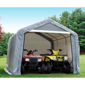 """12x12'3""""x8'6"""" Peak Style Shed 4-15"""" Augers 1-3/8"""" Frame - Grey"""