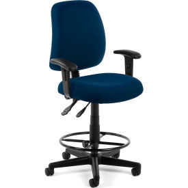 OFM Posture Series Swivel Task Chair with Arms and Drafting Kit, Fabric, Mid-Back, Navy